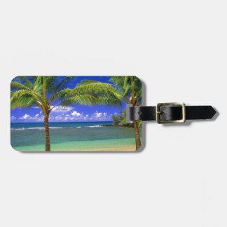 playa tropical etiqueta para maleta