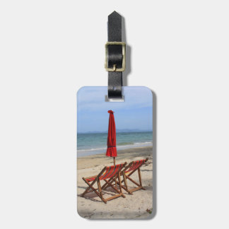 Playa tropical etiquetas de maletas