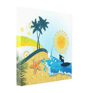 Playa tropical, impresión envuelta océano de la lo impresión en lona estirada