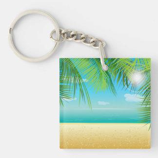 Playa tropical llavero cuadrado acrílico a una cara