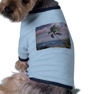 Playa tropical privada camiseta con mangas para perro