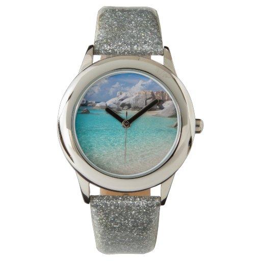 Playa tropical reloj de mano