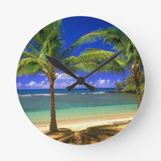 playa tropical reloj redondo mediano
