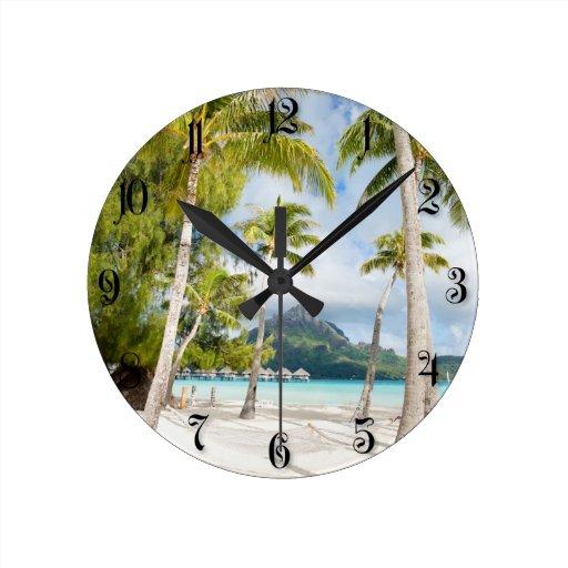 Playa tropical reloj de pared