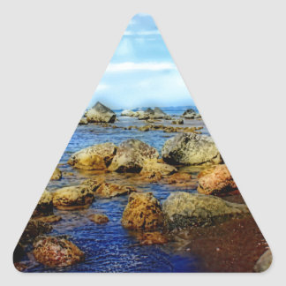 Playa tropical rocosa soñadora pegatina triangular