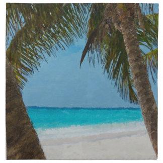 Playa tropical servilleta de papel