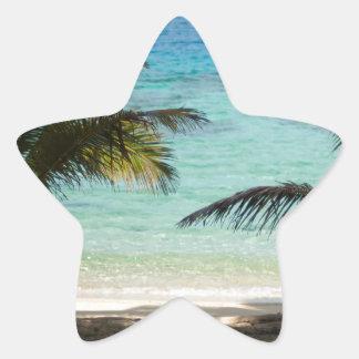 Playa tropical sombreada por las palmas pegatina en forma de estrella