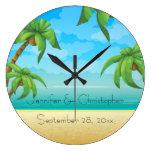 Playa tropical y palmeras que casan el recuerdo relojes