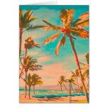 Playa/trullo hawaianos del vintage de PixDezines Tarjeta Pequeña