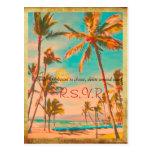 Playa/trullo hawaianos del vintage de PixDezines Tarjetas Postales