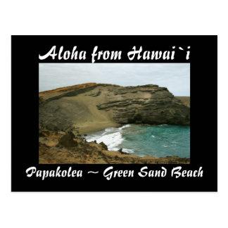 Playa verde de la arena de Hawaii Postal
