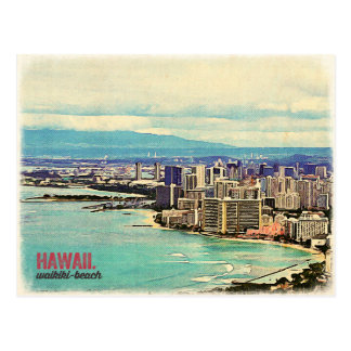 Playa vieja retra de Waikiki de la isla de Hawaii Tarjeta Postal