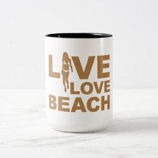 Playa viva del amor taza de dos tonos