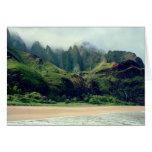Playa y cascada de Kalalau Tarjeta De Felicitación