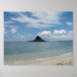 Playa y cielo hawaianos del retratamiento poster
