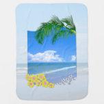 Playa y cielos azules mantas de bebé