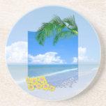 Playa y cielos azules posavasos cerveza
