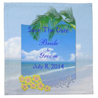 Playa y cielos azules que casan reserva la fecha servilleta imprimida
