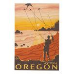 Playa y cometas - Astoria, Oregon Impresiones En Madera