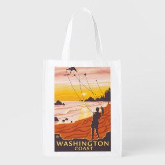 Playa y cometas - costa de Washington Bolsas Reutilizables