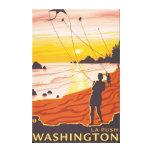Playa y cometas - empuje del La, Washington Impresion De Lienzo