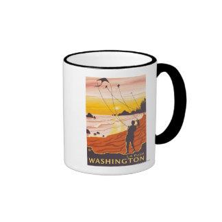 Playa y cometas - empuje del La, Washington Tazas De Café
