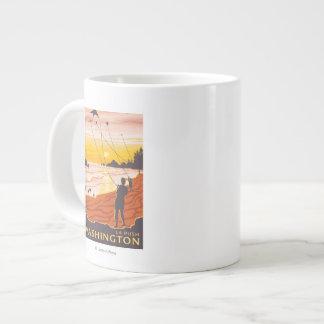 Playa y cometas - empuje del La, Washington Taza Extra Grande