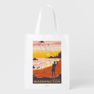 Playa y cometas - Ilwaco, Washington Bolsas Reutilizables