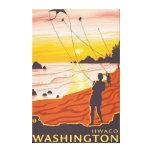 Playa y cometas - Ilwaco, Washington Lona Envuelta Para Galerías
