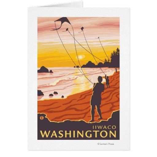 Playa y cometas - Ilwaco, Washington Tarjetas