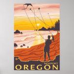 Playa y cometas - Newport, Oregon Póster