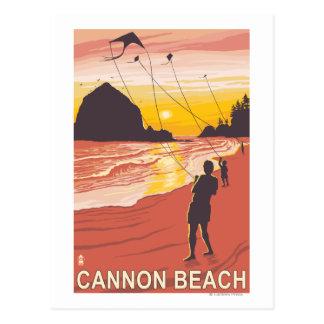 Playa y cometas - playa del cañón, Oregon Postales