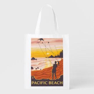 Playa y cometas - playa pacífica, Washington Bolsa Para La Compra