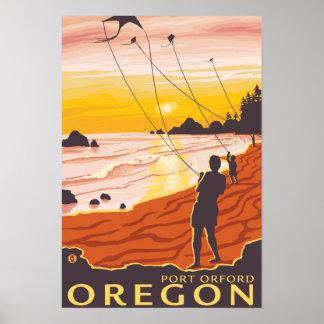 Playa y cometas - puerto Orford, Oregon Póster