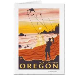 Playa y cometas - puerto Orford Oregon Tarjeta