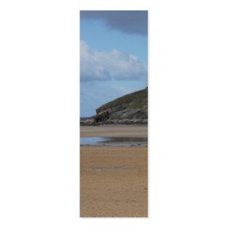 Playa y costa costa de Cornualles en día melancóli Tarjeta De Visita