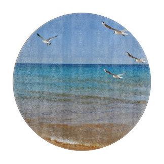 Playa y gaviotas tabla para cortar