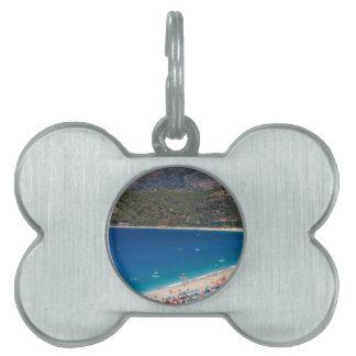 Playa y montañas del verano placa de mascota