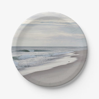 Playa y olas oceánicas platos de papel