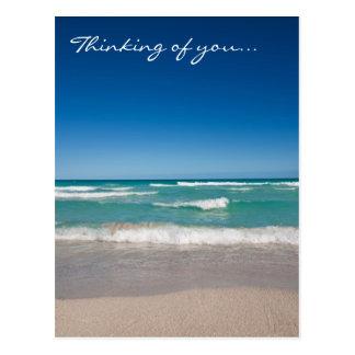 Playa y ondas - postal