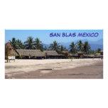 Playa y Palapas en San Blas México Tarjetas Fotograficas
