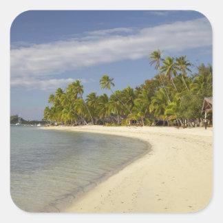 Playa y palmeras, centro turístico isleño 2 de la pegatina cuadrada