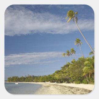 Playa y palmeras, centro turístico isleño de la pegatina cuadrada