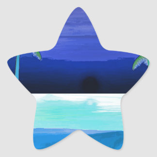 Playa y palmeras pegatina en forma de estrella