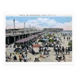 Playa y paseo marítimo, ciudad del océano, vintage tarjetas postales
