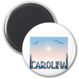 Playas de Carolina en la puesta del sol Imán Redondo 5 Cm