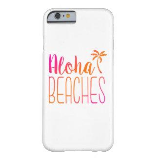 Playas de la hawaiana caja rosada y anaranjada del funda para iPhone 6 barely there