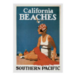 Playas de vintage de viaje California del poster