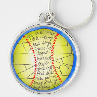 PlayBall! Silver-Colored Round Keychain