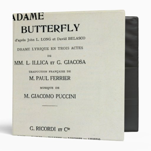 Playbill for Madame Butterfly by Giacomo Vinyl Binders